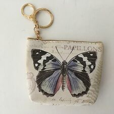 Coin Purse Large Blue Butterfly Beige Background with Script Papillons Key Chain
