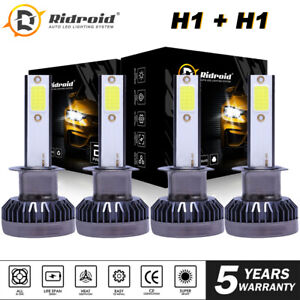 H1 H1 Combo 4000W 600000LM LED Headlight High Low Beam Kit Bulbs White 6000K 4X