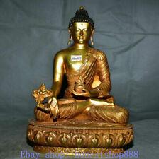 "12"" Old Tibetan Copper Gold Buddhism Menla Medicine Buddha Medical God Sculpture"