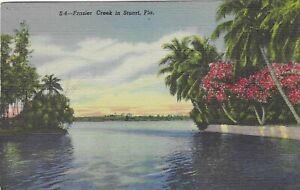 Vintage Florida Linen Postcard Frazier Creek in Stuart