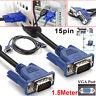 1.5M Male To Male SVGA VGA PC Monitor TFT Cable 15PIN Lead Computer Monitor