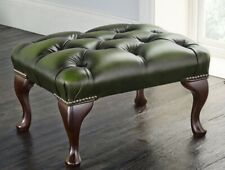 Chesterfield Deep Buttoned Footstool Genuine Antique Green Leather