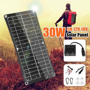 30W 18V Mono Solar Panel USB 12V/5V DC Flexible Controller For Car Boat