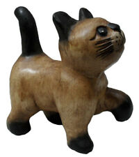 Handcarved Wooden Walking Cat with raised leg 15cm tall from Thailand New!