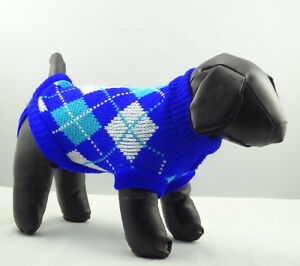 Pet Cat Dog Sweater Blue Argyle Knitted Jacket Jumper Puppy Chihuahua Clothes