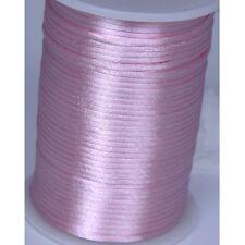 Pink 2mm Rattail Satin Cord Macrame Beading Nylon kumihimo String DIY 10yds