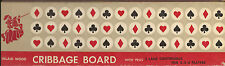 VINTAGE 1960'S WOODEN INLAID CRIBBAGE BOARD WITH ORIGINAL BOX -MADE IN HONG KONG