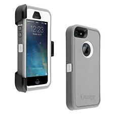 NEW OtterBox Defender iPhone 5 5s SE Hard Case w/Holster Belt Clip Gray/White