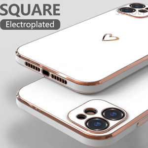 Silicone Shockproof Heart Plating Case Cover For iPhone 12 Pro Max 11 XS XR 7 8+