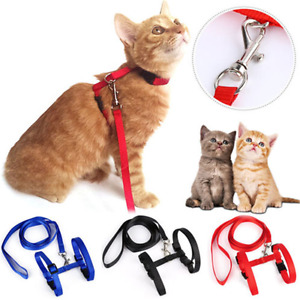 Fashion Cat Puppy Adjustable Harness Collar Nylon Leash Lead Safety Walking Rope
