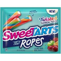 SWEETTARTS SOFT & CHEWY ROPES TWISTED RAINBOW PUNCH CANDY BAG 9oz - PACK OF 4