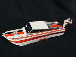 (1) CHAMPION - 1960 GIVEAWAY - Spark Plugs PAPER MODEL FOLD UP BOATS Sign