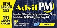 NEW ! Advil PM Pain Reliever Nighttime Sleep Aid Caplets 200 Caplets EXPIRE 2020