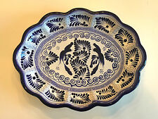 Mexican Art Pottery Casa Juquila Serving Bowl Dish Blue White Handpainted Wall