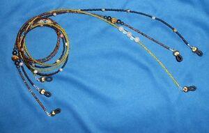 Lot of 3 bead Eyeglass Holders: mixed browns, Tigers eye gemstones, crystals