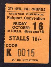 1970 Fairport Convention concert ticket stub Sheffield UK