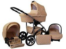 Kinderwagen Qbaro, 3 in 1- Set Wanne Buggy Babyschale Autositz Beige