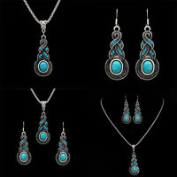Tibetan Silver Blue Turquoise Chain Pendant Necklace+Earrings Jewelry Set HOT