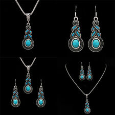 Newest Tibetan Silver Blue Turquoise Chain Pendant Necklace+Earrings Jewelry