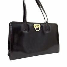 Authentic Salvatore Ferragamo Brown Leather Gancini Shoulder Bag Handbag Purse