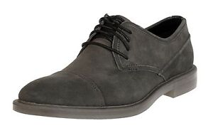 CALVIN KLEIN MENS UPTON DARK CHARCOAL SUEDE LACE-UP CAP-TOE OXFORD  MULTISIZE