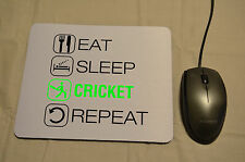 MOUSE MAT. Eat Sleep Cricket Repeat PC Acessory Desk Decor Birthday Gift