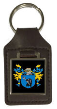 Sport Family Crest Surname Coat Of Arms Brown Leather Keyring Engraved