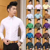 Stylish Men's Cotton Button Down Slim Fit Long Sleeve Casual/Formal Dress Shirts