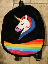 "Small Velour Backpack, Unicorn & Rainbow - Black and Bright Colors, 9"" W x 12"" H"