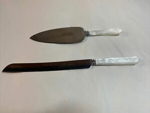 Treasure Masters Sheffield (2) Cake/ Server Knife Mother of Pearl Handle England