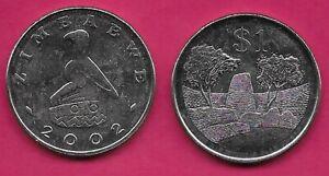 ZIMBABWE 1 DOLLAR 2002 UNC ZIMBABWE RUINS AMONGST TREES,VALUE,NATIONAL EMBLEM