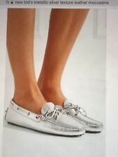 NEW TOD'S GOMMINO METALLIC SILVER TEXTURE LEATHER MOCCASINS SIZE: 5.5 - 6