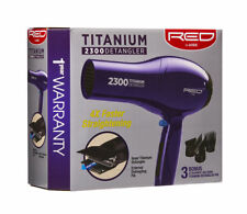Red by Kiss Titanium 2300 Detangler Hair Dryer with 3 Attachment Piks #BD11