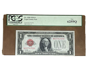 1928 Red Seal $1 Washington U.S Legal tender Note Certificate PCGS New 62 PPQ