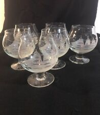 6 HAND MADE TOSCANY CLIPPER SHIP ETCHED BRANDY SNIFTERS