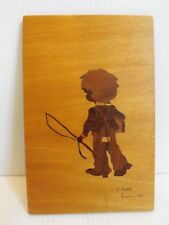 Vintage Signed Art Woodcut Cut Out Wood Boy Fishing London 1983 S. Dyble