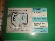 JB863 Vintage Argus L3 Film Exposure Meter Guide Booklet 1955 Lifetime Guarantee