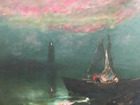 Oil painting on Canvas by Arthur Upelnieks Canvas Modern Art Storm at Sea Signed