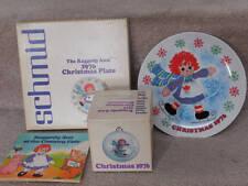 Raggedy Ann & Andy Schmid Plate & Ornament~1976 Christmas plus book