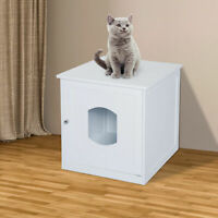 Pawhut Multi-Use Cat Litter Box Enclosure Pet House Table Home Furniture