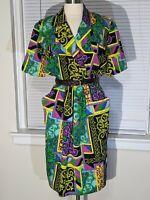 Vtg Gina Bacconi Italian 80s dress crazy abstract print Bucket pockets size 16 L