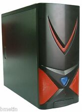 NEW PC COMPUTER TOWER CASE GENERIC GAMING PC NO PSU BLACK & RED