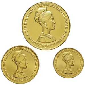 THAILAND , GOLD SET 150, 300 & 600 BAHT 1968 SIKRIT`S 36TH BIRTHDAY - UNC , RARE