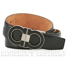 SALVATORE FERRAGAMO black 36 blck Double GANCINI buckle Adjustable belt NWT Auth