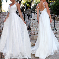 Womens V-Neck Halter Lace Ball Gown Wedding Party Cocktail Prom Dress Sleeveless