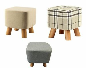 Luxury Padded Wooden Footstool Ottoman Square Round Pouffe Stool Wooden 4 Legs
