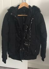Very Love Label Black Sequined Padded Jacket  Coat Size 8 New
