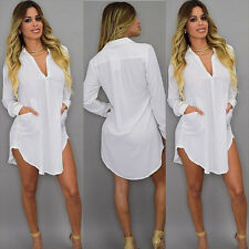 Plus Size Summer Womens Casual Loose Long Sleeve Chiffon Shirt Blouse Tops Dress