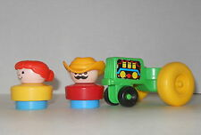 Vintage Fisher Price Little People Green Tractor With 2 Chunky People 1990