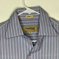 Paul Stuart Mens Designer Shirt LS Purple Striped Medium